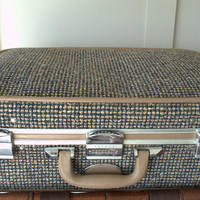Vintage Skyway Tweed Luggage, Hard Sided Luggage, Skyway Roller Suitcase, Vintage Carry On Luggage