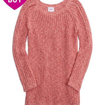 SOPHIA MARLED CABLE KNIT SWEATER   GIRLS SWEATERS TOPS   SHOP JUSTICE