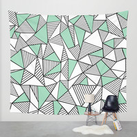 Abstraction Lines with Mint Blocks Wall Tapestry by Project M