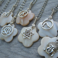 Spiritual Charm Necklace, Personalized Mother of Pearl Necklace, Beach Shell Jewelry, Antiqued Silver  Necklace, Choose Your Charm & Length