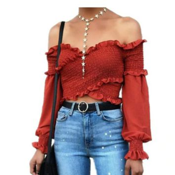 ruffledcrossed crop top off shoulder summer top tg