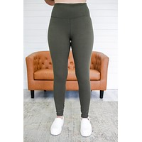 On The Run Leggings - Olive