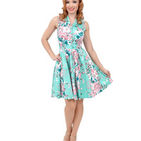 Voodoo Vixen Seafoam Green & Floral Button Up Dream Flare Dress