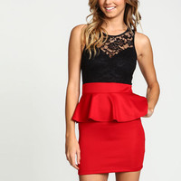 ROSES LACE PEPLUM DRESS