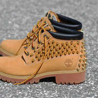 Leopard and Spiked Timberland Boots HIGHEST QUALITY fabric & Screw in spikes