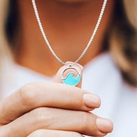 Silver Stone Wave Necklace