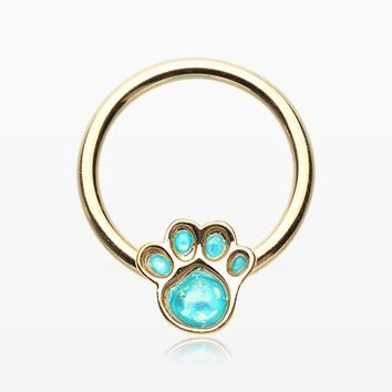 Golden Adorable Paw Print Opalescent Sparkle Captive Bead Ring