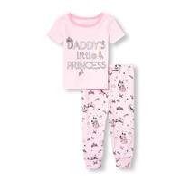 Baby And Toddler Girls Short Sleeve Foil 'Daddy's Little Princess' Top And Printed Pants Snug-Fit PJ Set