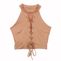 Lace Up Tie Front Stretch Crop Top