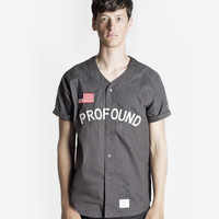 Button-Down Baseball Jersey in Charcoal