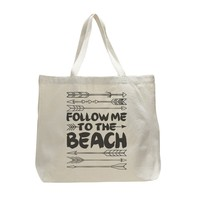 The Follow Me To The Beach - Trendy Natural Canvas Bag - Funny and Unique - Tote Bag