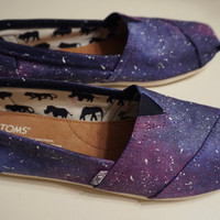 Hand-Painted Galaxy Cosmic Space Toms Womens Shoes Custom Made-To-Order