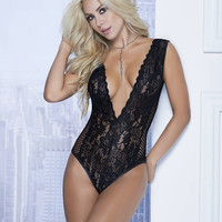 Mapale Women Lace Teddy With Fishnet Detail 7111