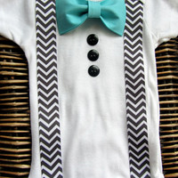 Baby Boy Clothes - Bow Tie Onesuit - Infant Tuxedo - Coming Home Outfit - Chevron Suspenders With Blue Bow Tie - Boys First Birthday Outfit