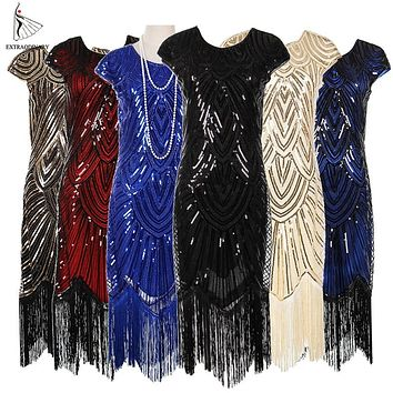 Womens 1920s Vintage Flapper Great Gatsby Party Dress V-Neck Sleeve Sequin Fringe Midi Dresses Accessories Art Deco Embellished