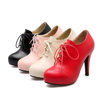 Women Lace Up Platform High Heels Shoes