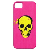 Funny Cute Cool Yellow Grunge Skull Pink Texture iPhone 5 Cases