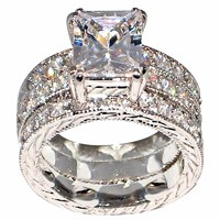 10KT White Gold Princess Cut Cubic Zircon Ring Set