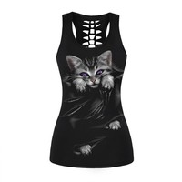 Summer Style Women 3D Cute Cat Printed Black Tank Tops O Neck Sexy Back Hollow Out Sleeveless Shirts Slim Fitness Black Vests
