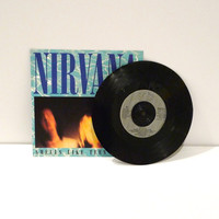 Nirvana Record Kurt Cobain Vinyl Single Smells Like Teen Spirit Drian You DGC 7 inch 45rpm picture sleeve UK Import Dave Grohl  Free US Ship