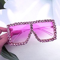 2020 new big frame sunglasses, personality diamond-studded glasses, cool big frame sunglasses purple