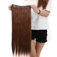 Us.store 23'' Long New Straight Clip in on Hair Extensions 3/4 Full Head One Piece Hair 5 Clips (light brown):Amazon:Beauty