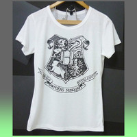 Women tops white tee Hogwarts Harry Potter short sleeve crew neck tshirt teen girl clothing/ white tops /quotes size S