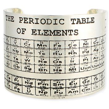 Silver Etched Periodic Table Cuff Bracelets   Chemistry, Women in STEM Gift