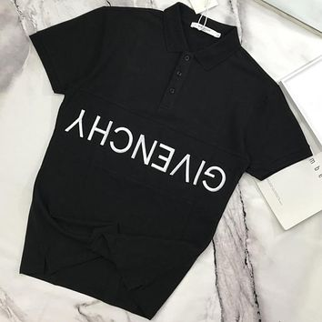 Givenchy 2019 new embroidered letter button POLO shirt half sleeve T-shirt Black