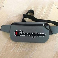 Champion Fashion New Embroidery Letter Shopping Leisure Shoulder Bag Waist Bag Gray