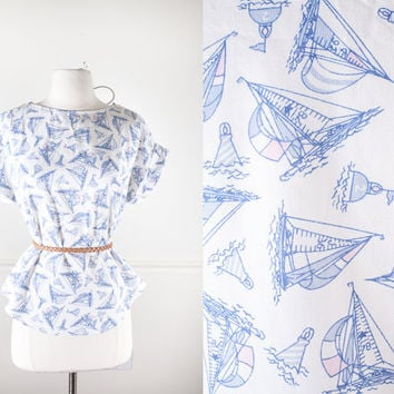 1970s Sailboat Print Blouse / Oversized Top / Graphic Print Shirt / Novelty Print Blouse / Boho 70s Blouse / Retro 80s Blouse / Summer Top
