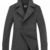 The Foster Wool Peacoat Grey