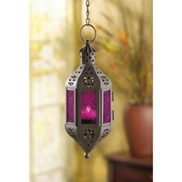Mystical Purple Glass Hanging Moroccan Candle Lantern