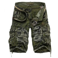 Men's Camouflage Shorts  Army Cargo Shorts Workout Shorts Loose Casual Trousers