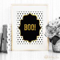 Halloween decor, Halloween printable, Boo! wall art, faux gold foil decor 8 x 10 (Printable - Instant digital download - JPG)