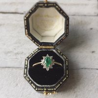 Ready to ship Midautumn Vintage 10k white and yellow gold Emerald Pear Halo Diamond Ring