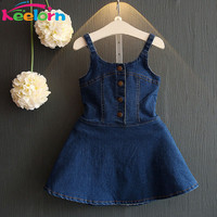 Keelorn Girls Dress 2016 Casual Summer Style Bull-puncher Dresses Kids Clothes Backless Denim Dress  Shoulder-Straps 3-7Y