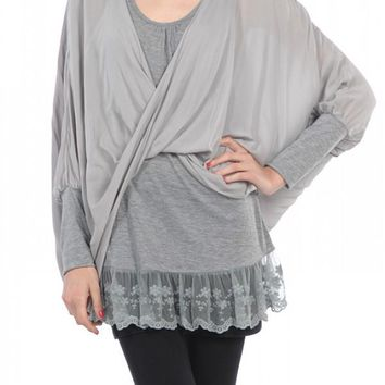 Faux Wrap Top with Underlayer