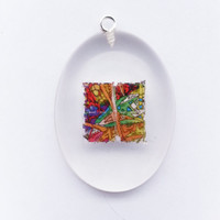 Multi color LSD Blotter Art Pendant Large Oval Pendant -