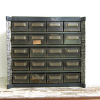 Vintage gray metal industrial Storage Box / tool box with drawers