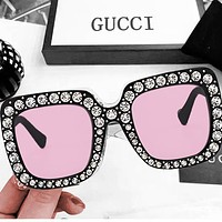 Onewel Gucci Fashion Women Men Diamond More Big Frame Good Glass Lens Sunglass glass Black+Pink
