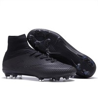 sufei Men Football Boots Original FG Superfly High Ankle V Turf Kids Soccer Shoes Blackout Race Outdoor Training Sock Cleats