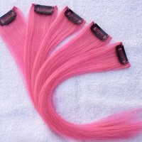 "Hair Collection-12"" PINK 100% Human Hair Clip in on Extensions - 1.6""widex5pcs"