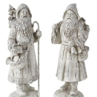 French Country Christmas Home Decor Collection Set of 2 White Glitter Santa Figurines