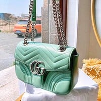 GUCCI Classic Fashion Women Shopping Bag Leather Metal Chain Shoulder Bag Crossbody Satchel