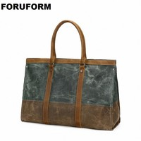 Leather Travel Bag Carry On Luggage Bags Canvas Duffle Travel Tote Large Weekend Bag Overnight