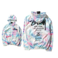Womens Tie Dye Cotton Hooded Sweatshirt