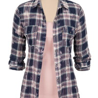 lightweight wash plaid button front shirt
