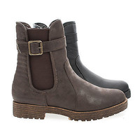 Rugged04 Round Toe Quilted Moto Lug Sole Faux Wooden Heel Ankle Boots