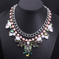 Jewelry New Arrival Stylish Shiny Gift Gemstone Chain Floral Lock Korean Accessory Necklace [6586342471]